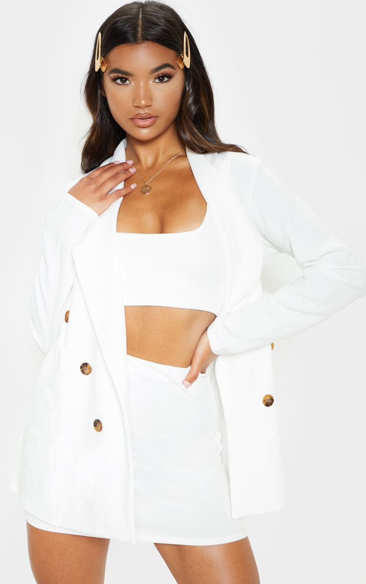 White Mini Suit Skirt 1