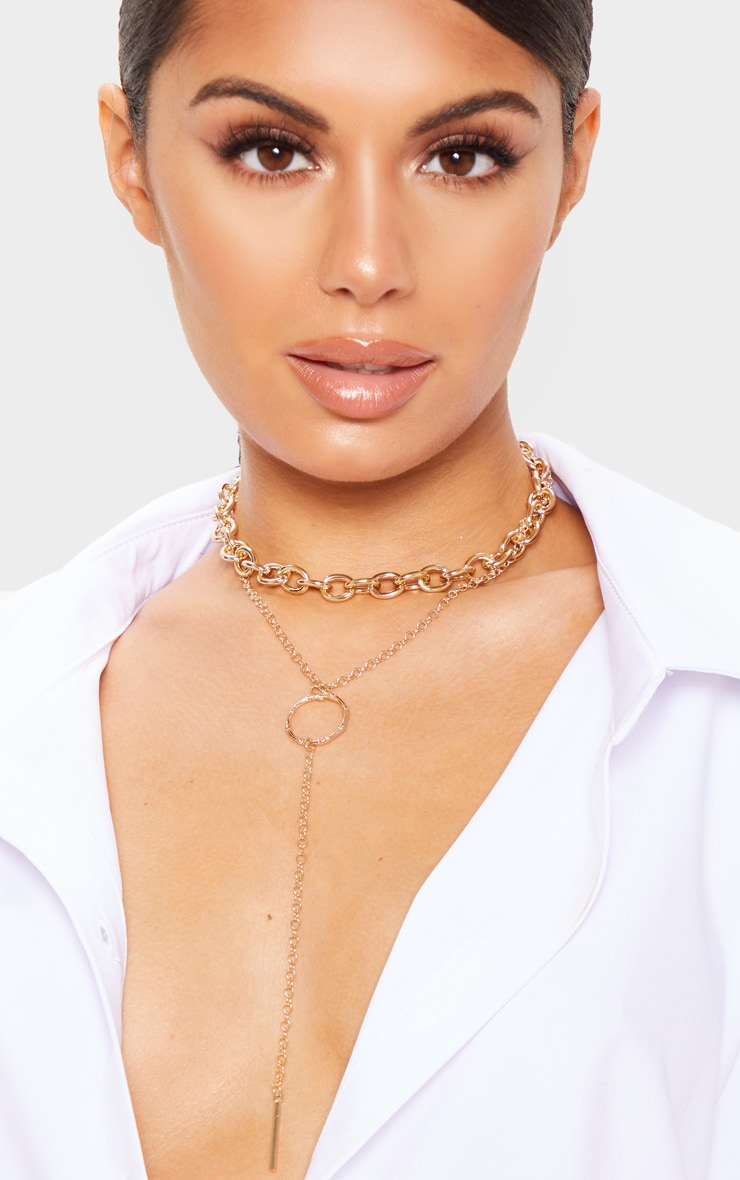 Gold Double Layer Chain And Ring Necklace 1