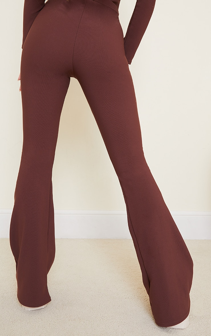 Chocolate Brown Bandage High Waist Flared Trousers 3