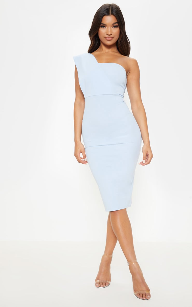 Dusty Blue One Shoulder Drape Midi Dress 1