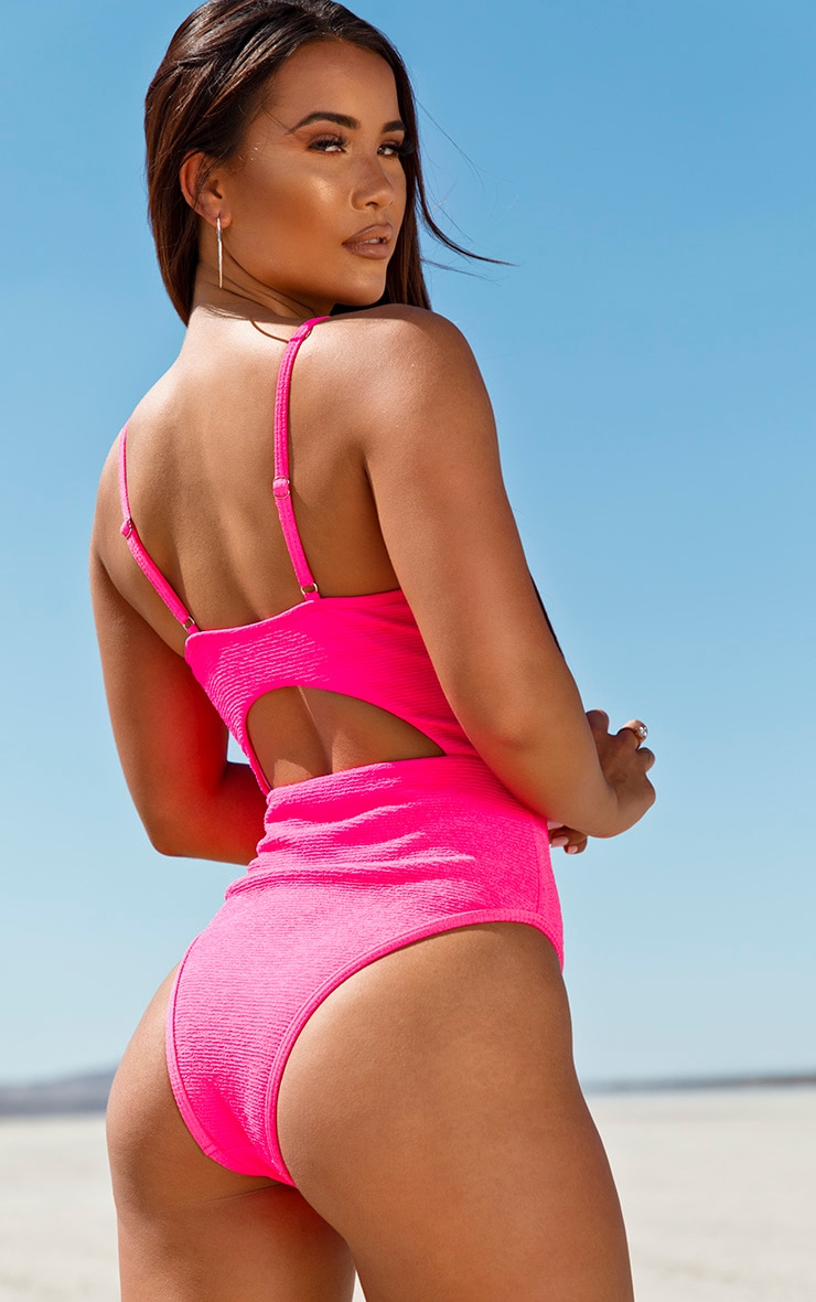 Neon Pink Mini Crinkle Underwired Cut Out Swimsuit 6