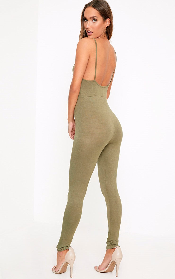 Khlara Khaki Low Back Jersey Jumpsuit 2