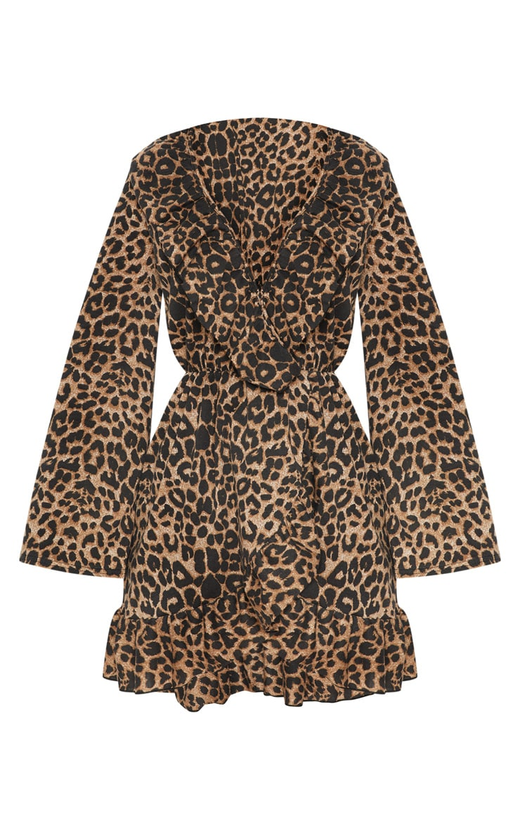 Leopard Printed Jersey Frill Detail Flare Sleeve Wrap Dress 3