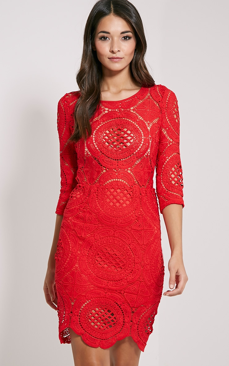 Annice Red Crochet Scallop Edge Dress 1
