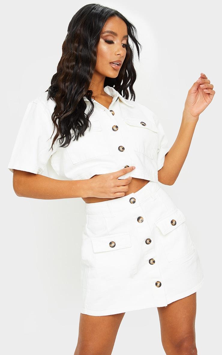 White Button Up Pocket Detail Denim Mini Skirt 5