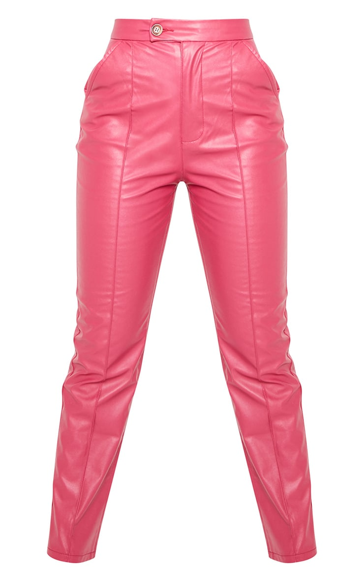 Hot Pink Faux Leather Pintuck Detail Straight Leg Trousers 5