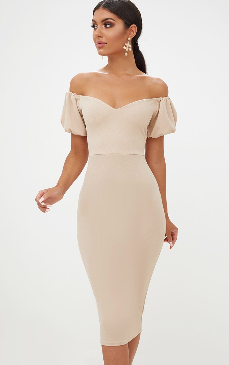 Stone Balloon Sleeve Bardot Midi Dress