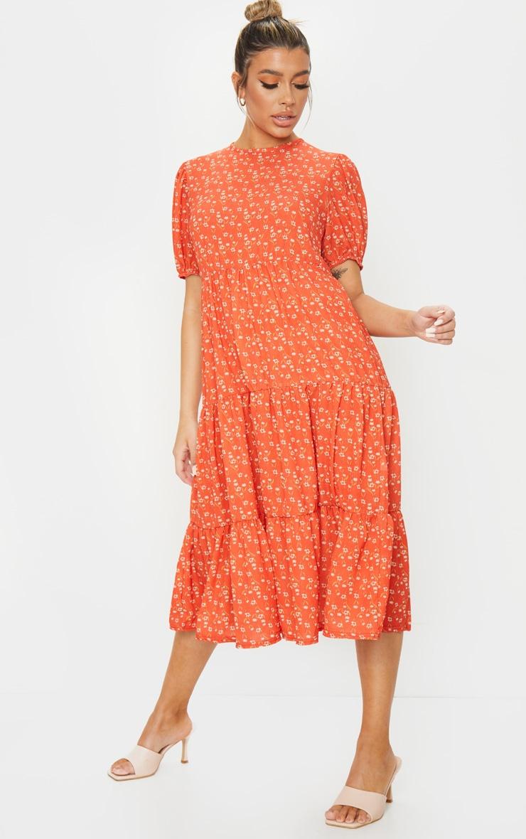 Red Ditsy Floral Print Puff Sleeve Tiered Hem Midi Smock Dress 1