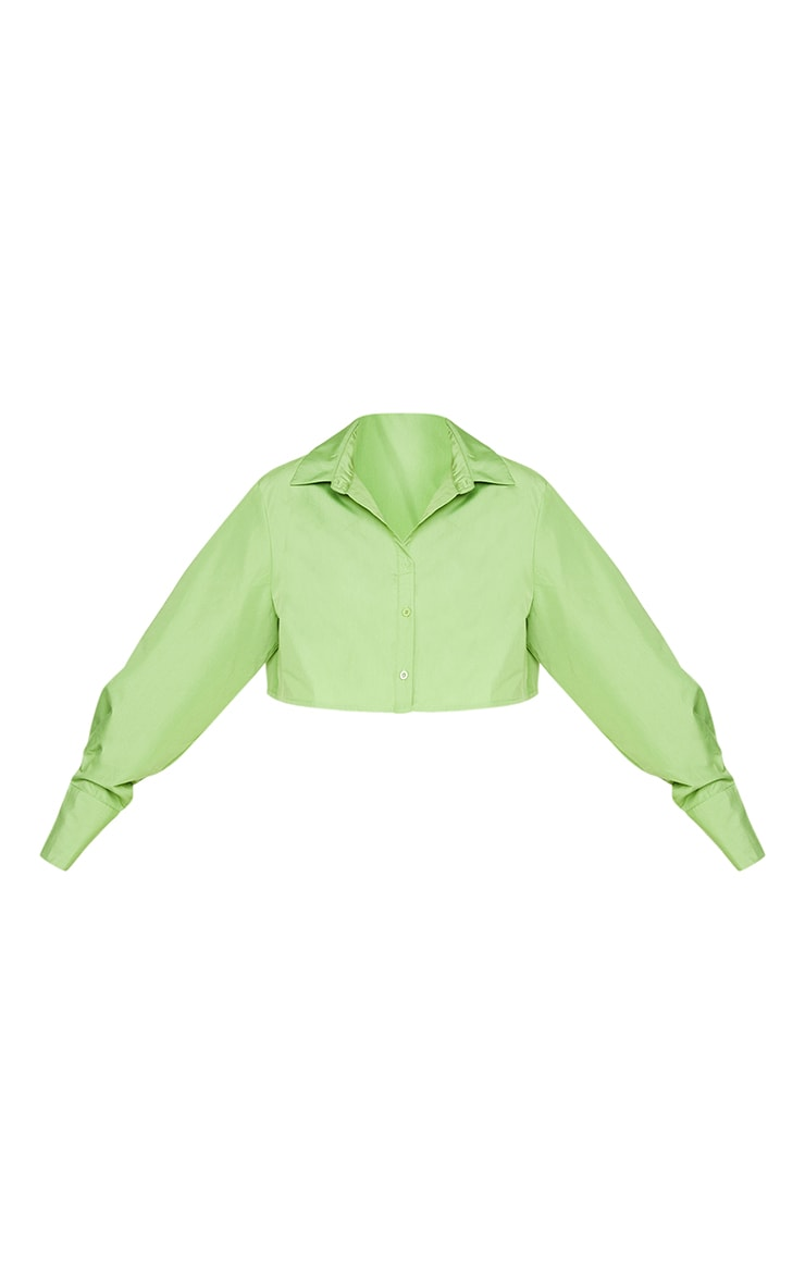 Plus Bright Green Cotton Oversized Crop Shirt 5