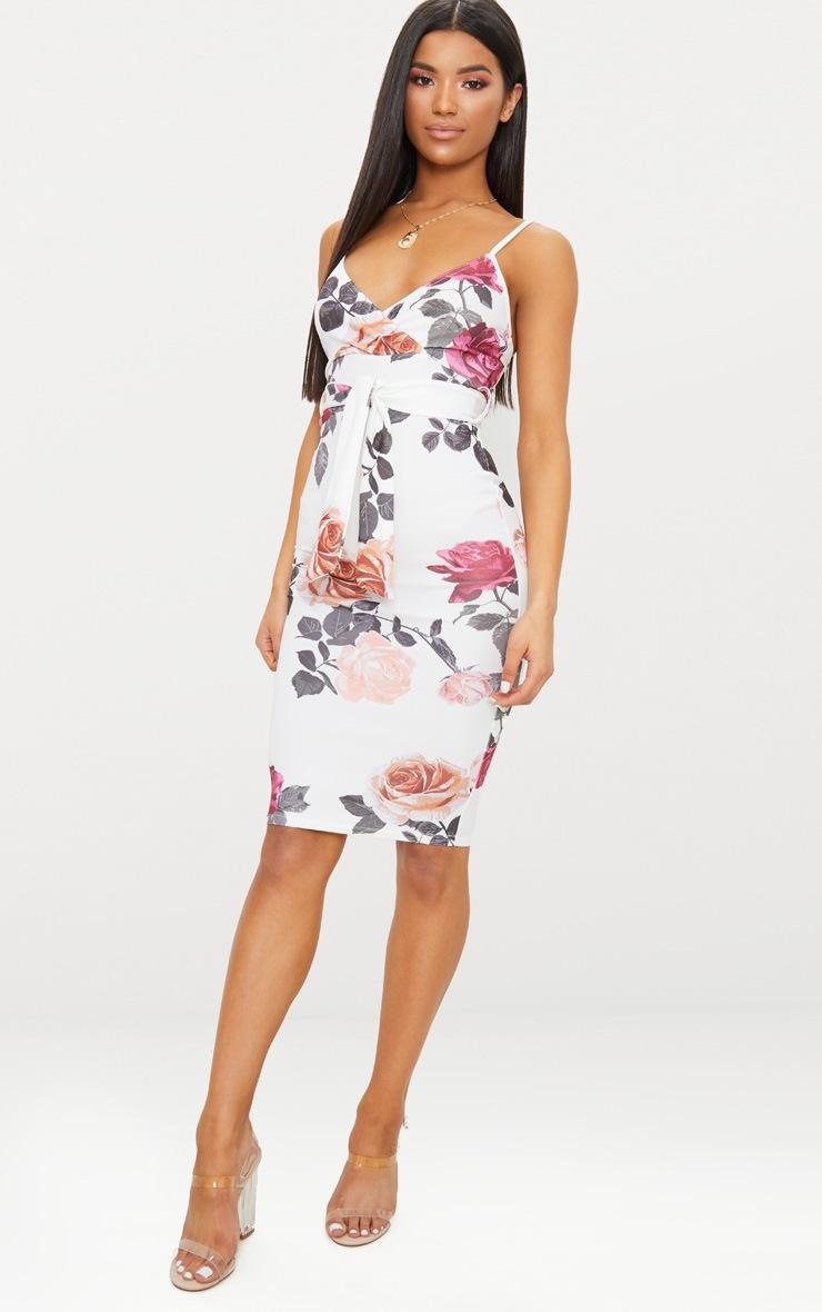 e69d8022d7e White Floral Print Plunge Tie Detail Midi Dress image 1