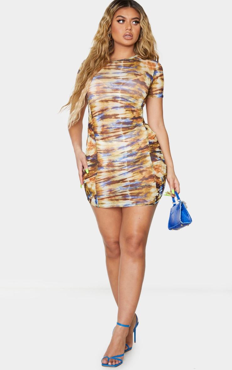 Multi Tie Dye Mesh Short Sleeve Ruched Bodycon Dress 3