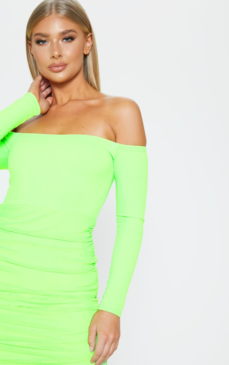 Neon Lime Bardot Long Sleeve Ruched Bodycon Dress 5