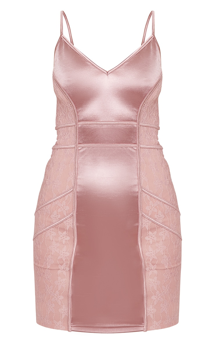 Rose Satin Piped Lace Insert Bodycon Dress 3
