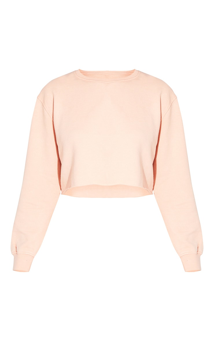 Tall Washed Orange Cropped Sweater 5