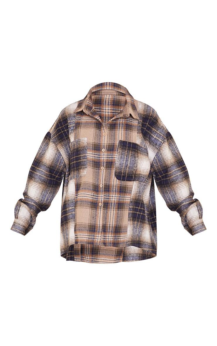 Petite Grey Mixed Checked Shirt 5