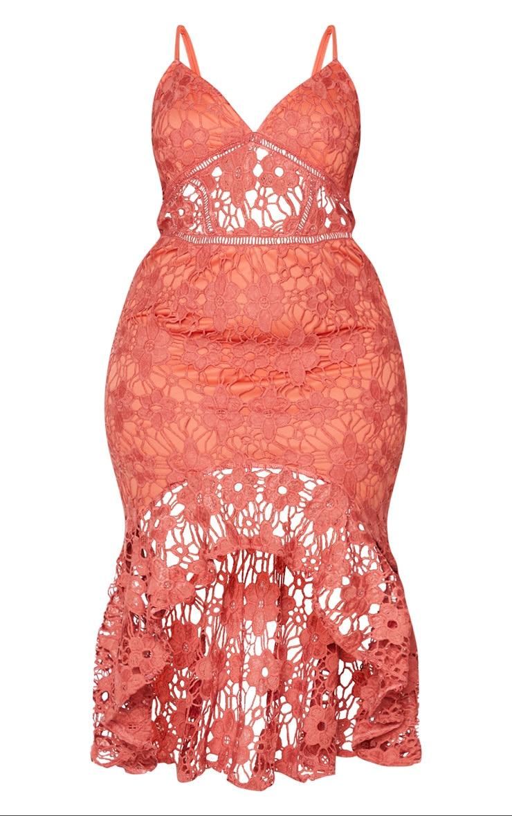 Plus Coral Lace Frill Hem Midaxi Dress 5