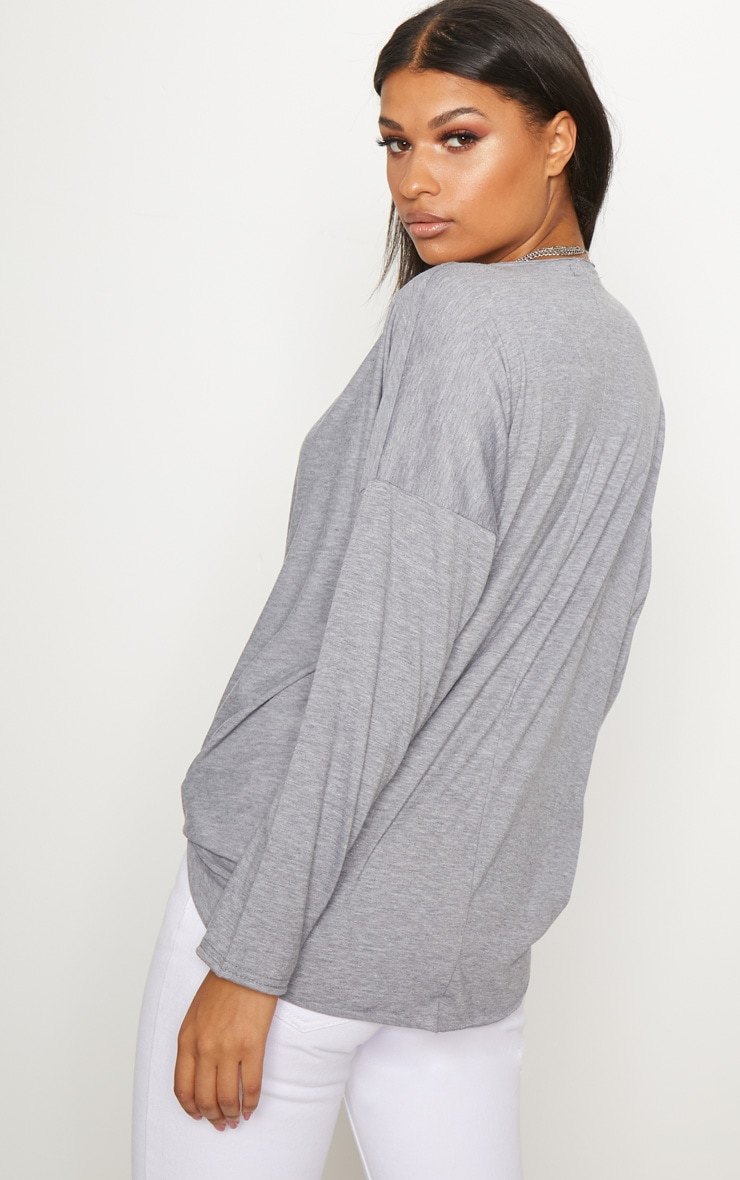 Inexpensive For Sale Professional Grey Jersey Drape Wrap Top Pretty Little Thing Cheap Sale Low Price Fee Shipping Free Shipping Footlocker Finishline in1Dd9oW4