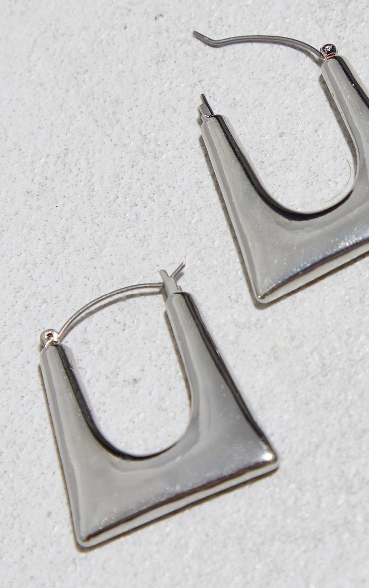 Silver Cut Out Square Hoop Earrings 3