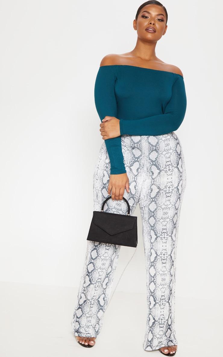 Plus Emerald Green Basic Bardot Bodysuit 5