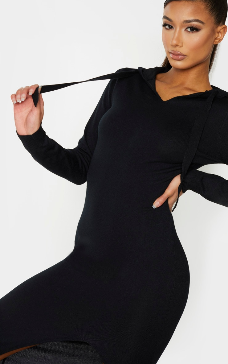 Black Hooded Knitted Maxi Dress 4