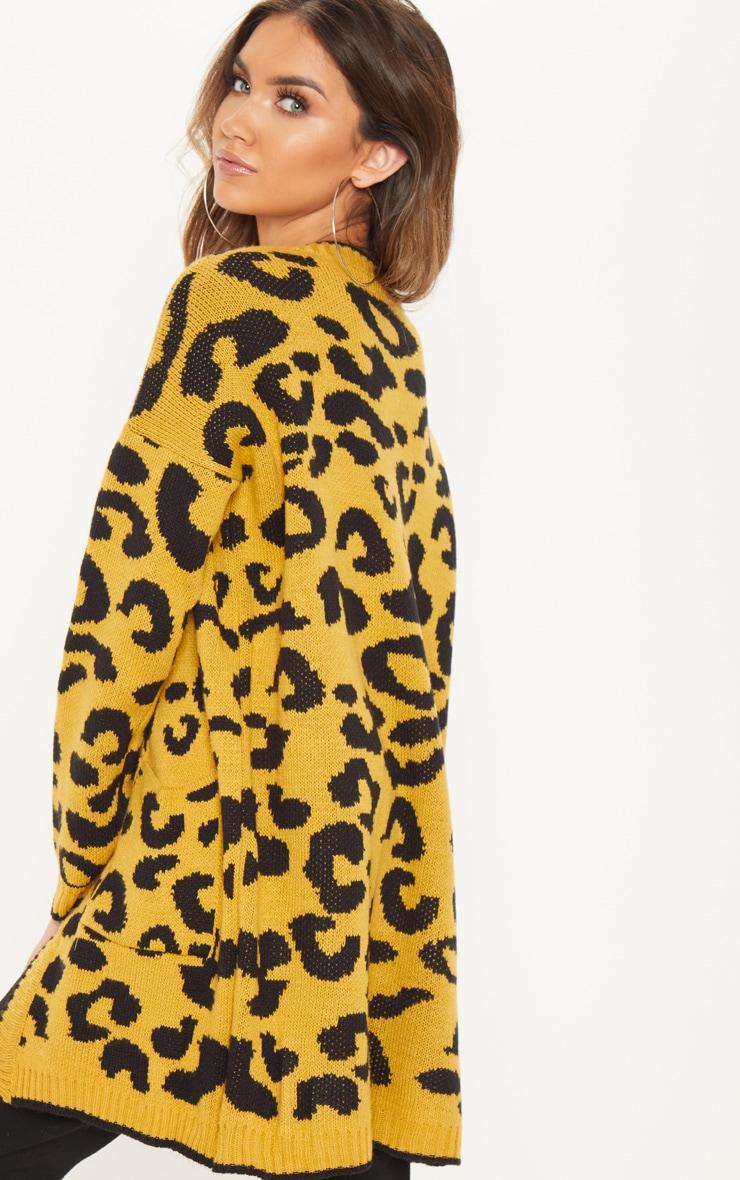 Mustard Knitted Leopard Print Longline Cardigan 2