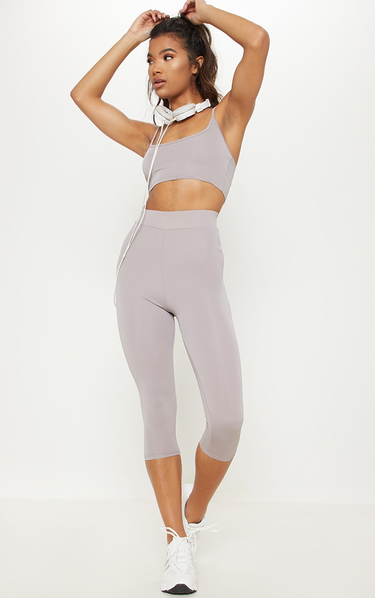 Grey Basic 3/4 Gym Legging 1