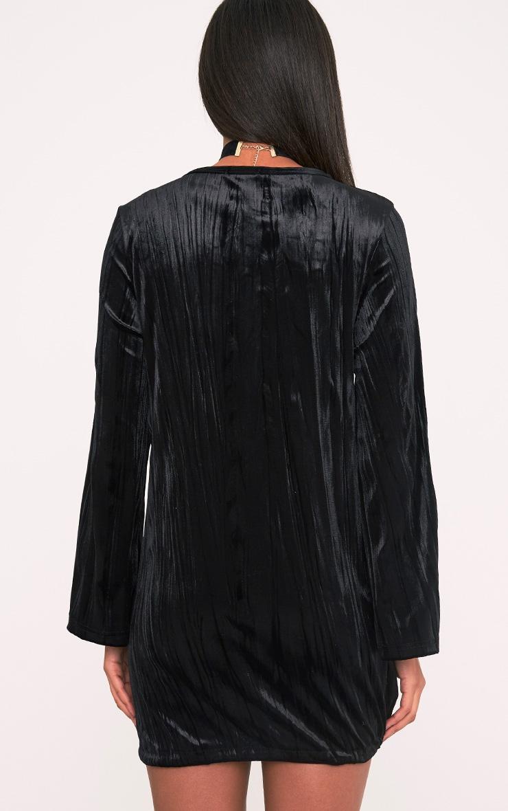 Ailsah Black Textured Velvet Bell Sleeve Shift Dress 2