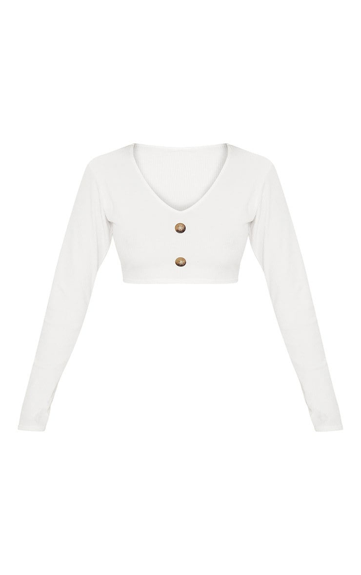 Cream Rib Button Detail Crop Top 4