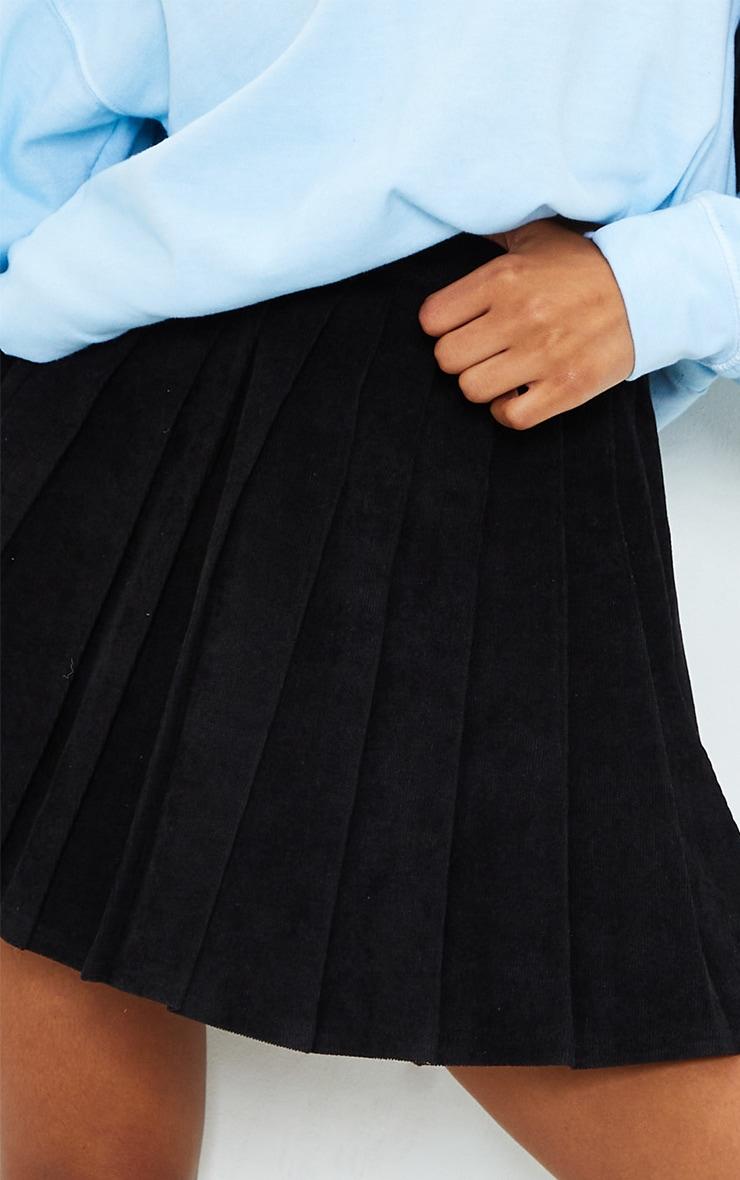 Black Cord Pleated Skater Skirt 5