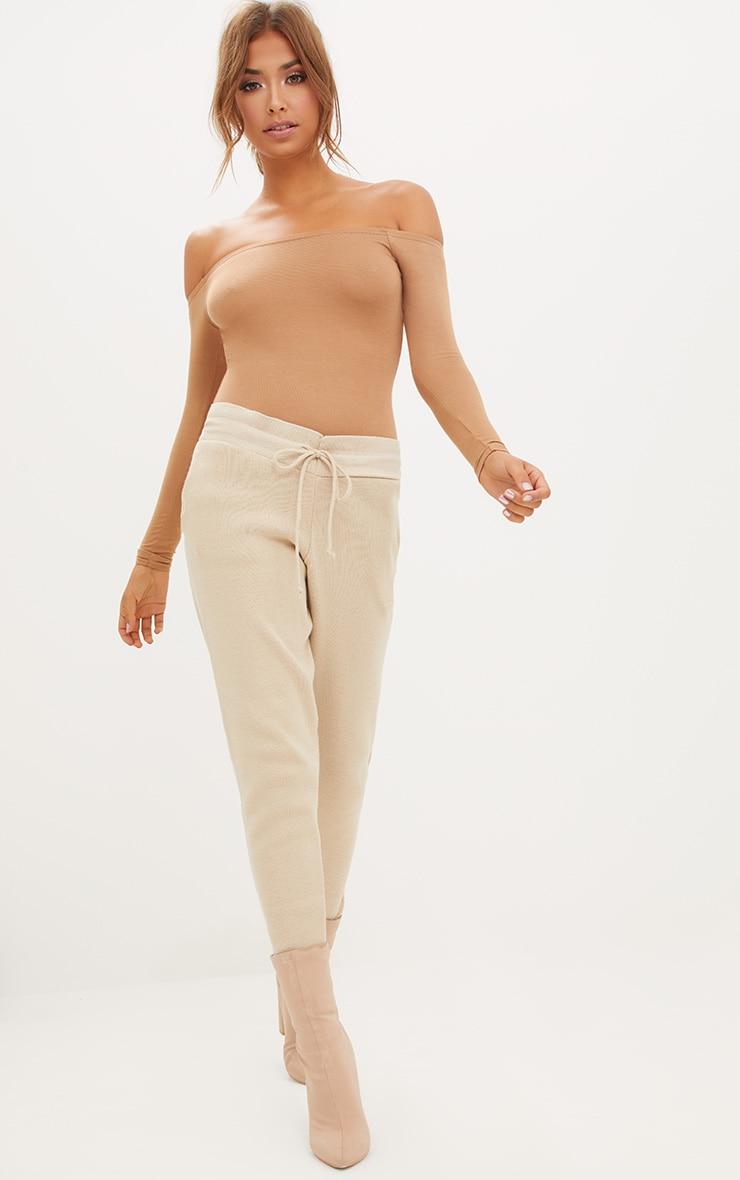 Basic Navy & Camel 2 Pack Bardot Longsleeve Thong Bodysuit  3