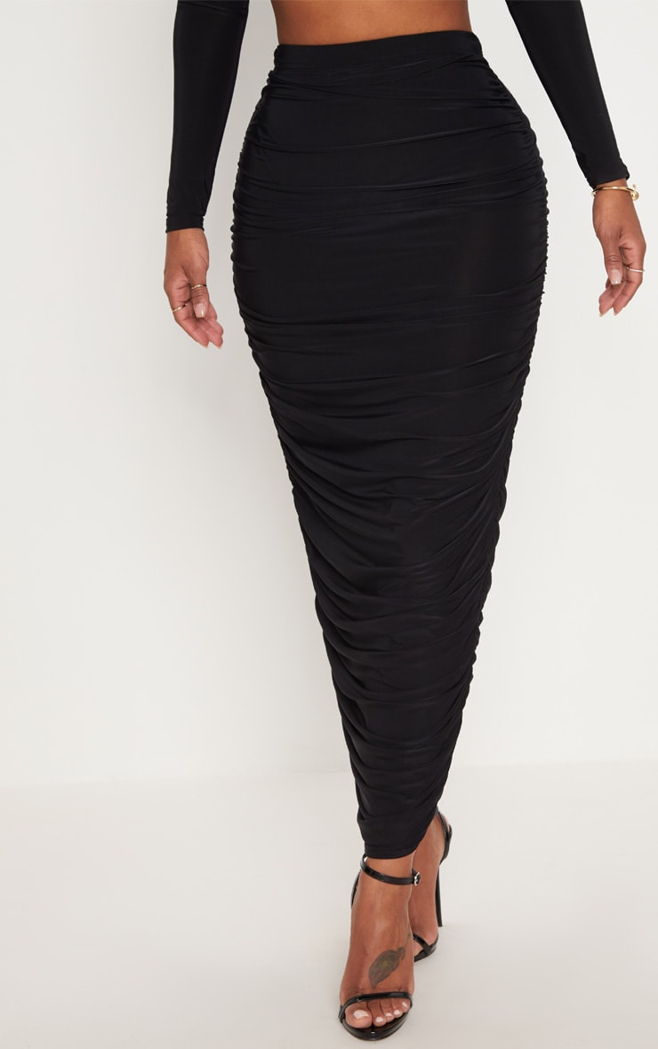 Shape Black Slinky Ruched Midaxi Skirt 2