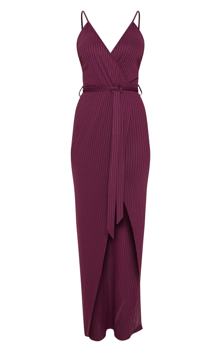 Plum Ribbed Wrap Maxi Dress 3