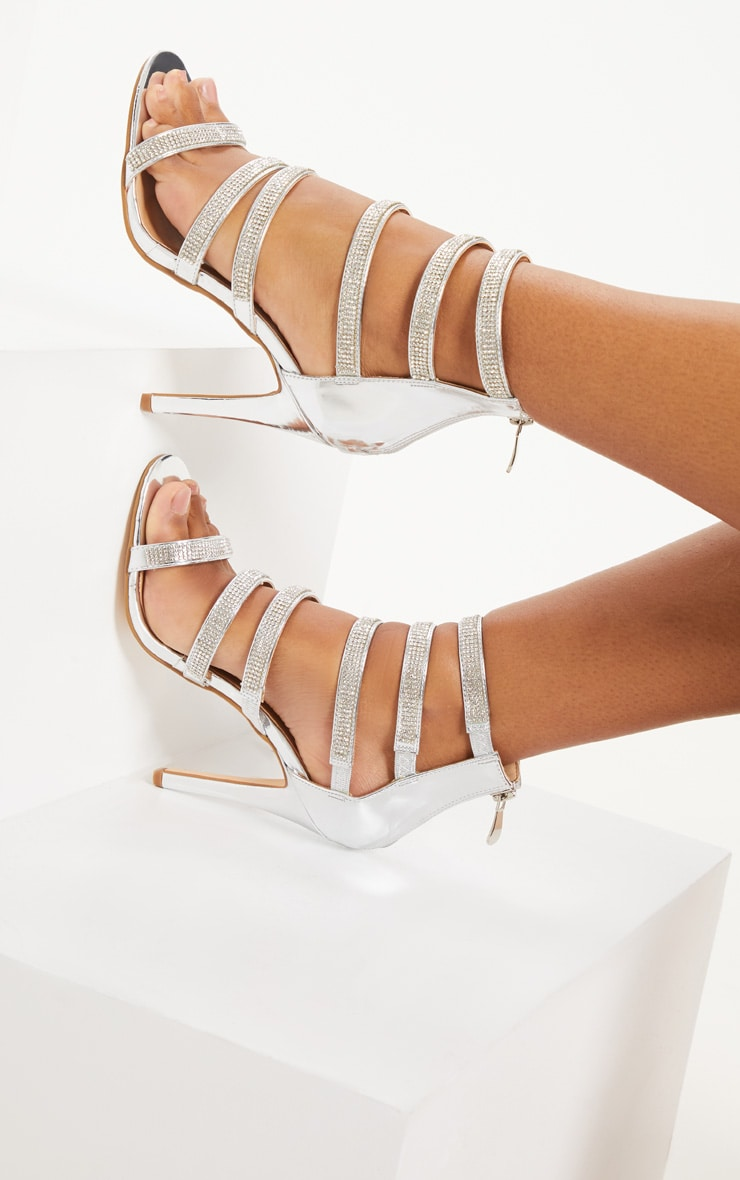 Silver Strappy Jewel Diamante Heeled Sandals
