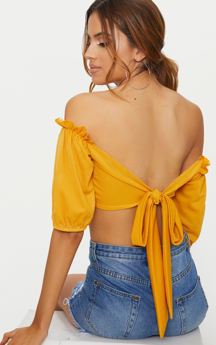Mustard Crepe Bardot Tie Back Crop Top  1