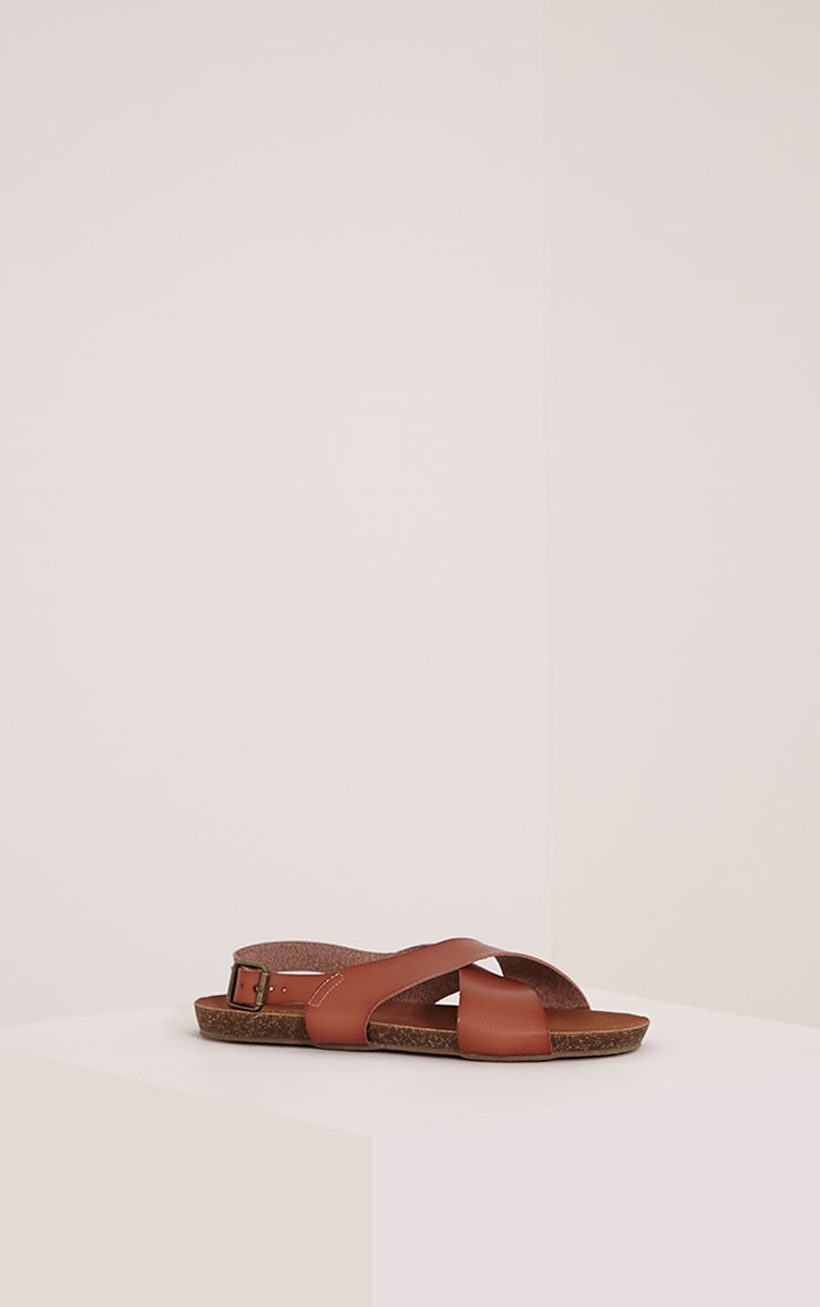 Nia Tan Faux Leather Cross Over Sandals 3