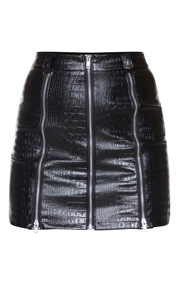 Black Faux Leather Zip Detail Croc Mini Skirt 6