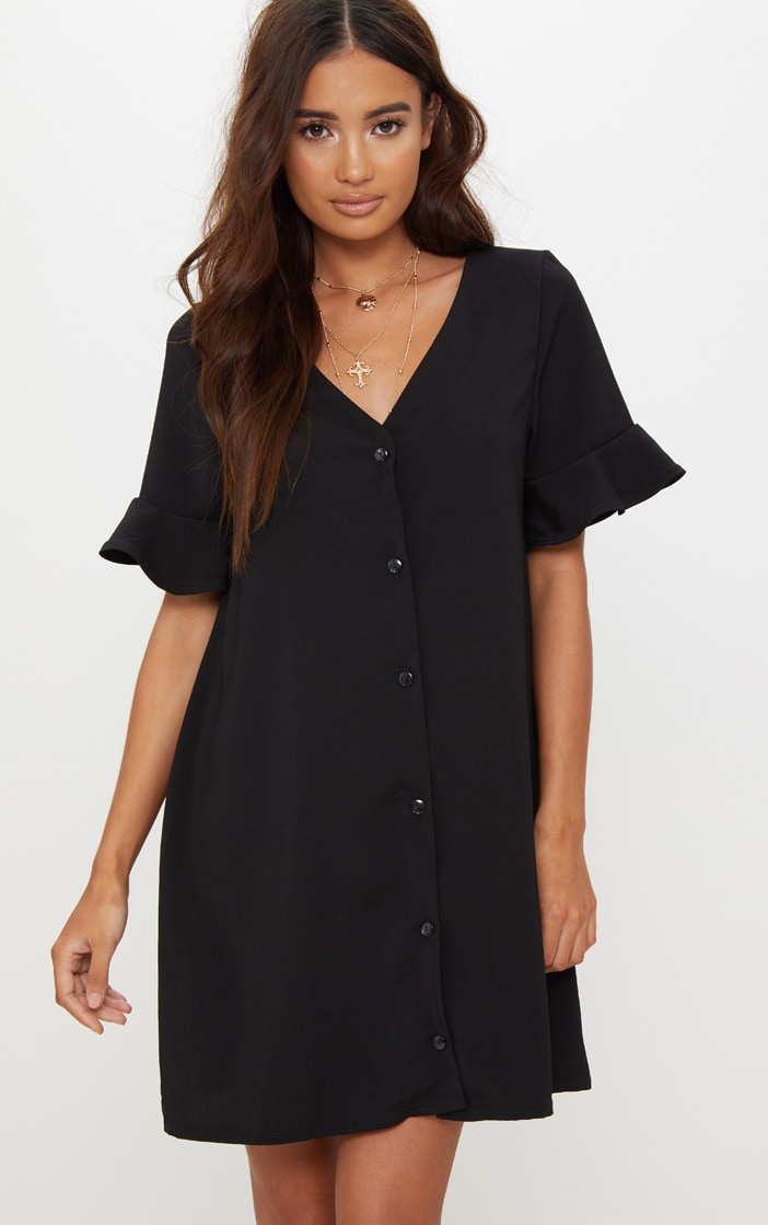 Black Button Through Frill Sleeve Shift Dress 1