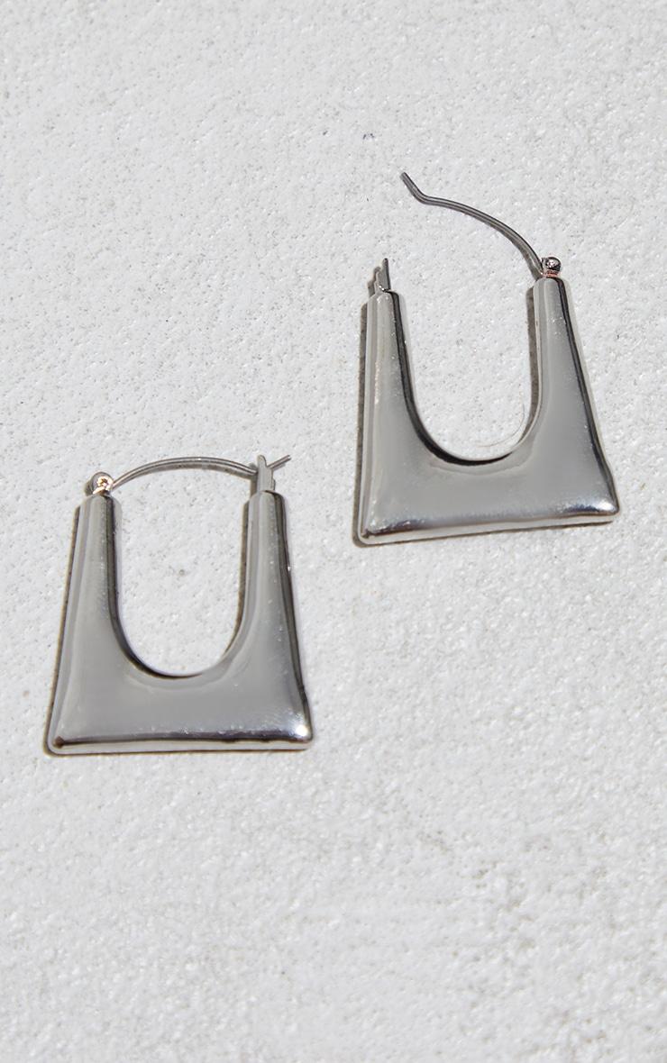 Silver Cut Out Square Hoop Earrings 2