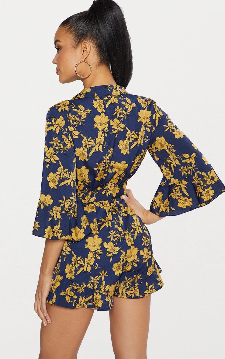 Navy Floral Kimono Romper  3