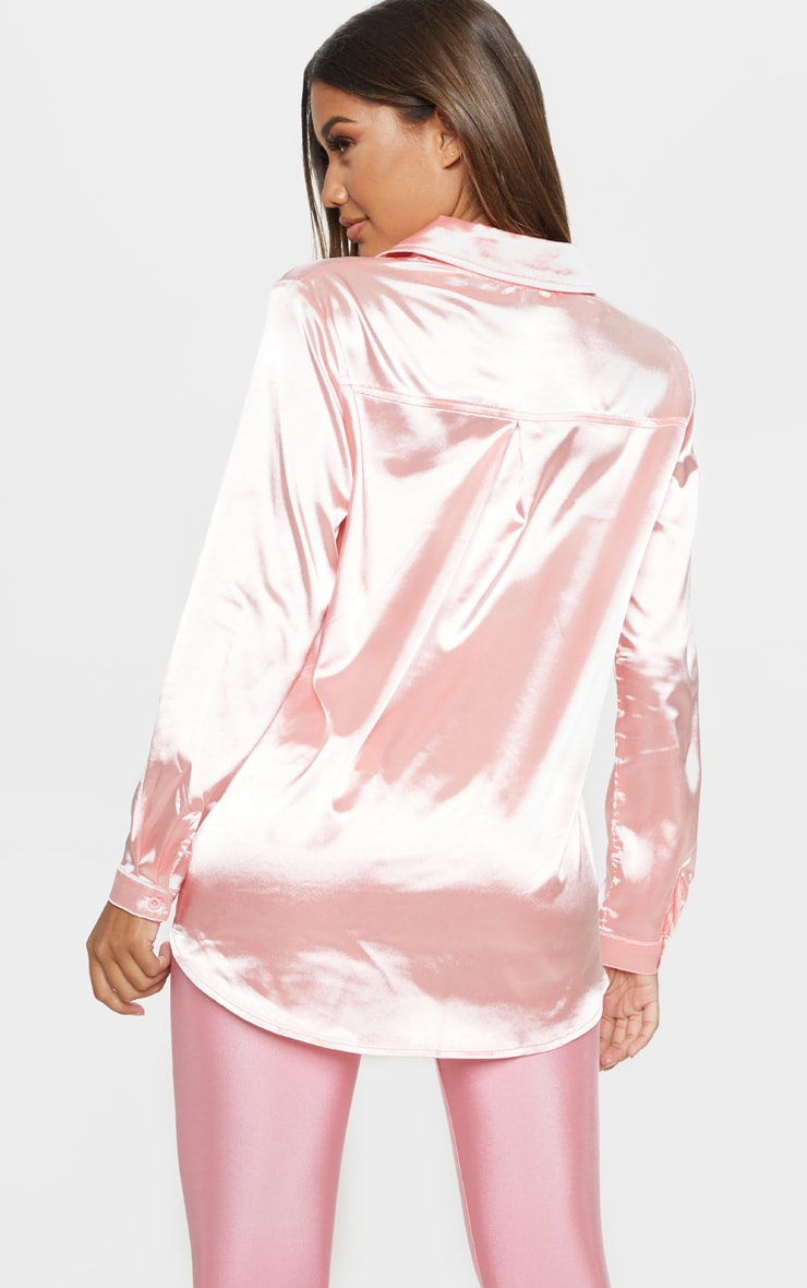Pink Oversized Satin Shirt 2