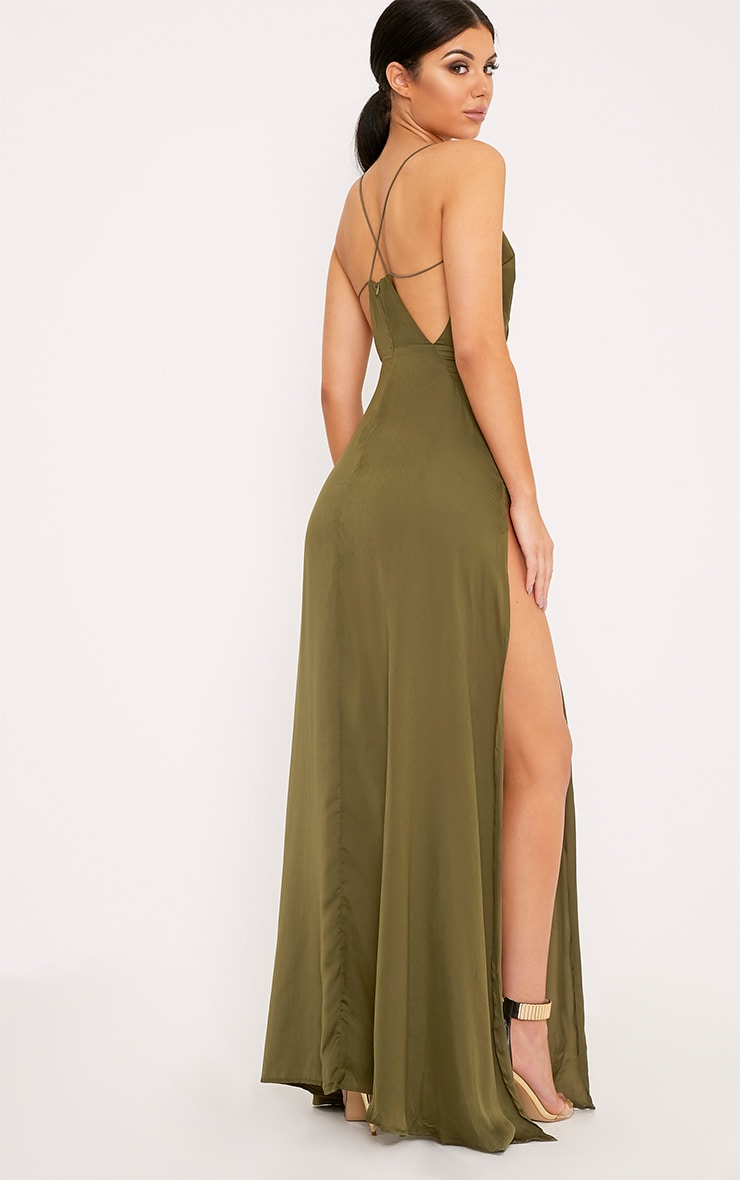 Beccie Khaki Extreme Split Strappy Back Maxi Dress 2
