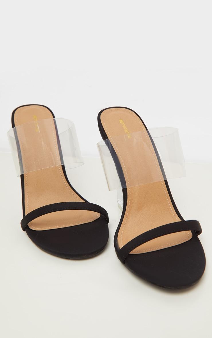 Black Clear Wedge Mule Sandal 4