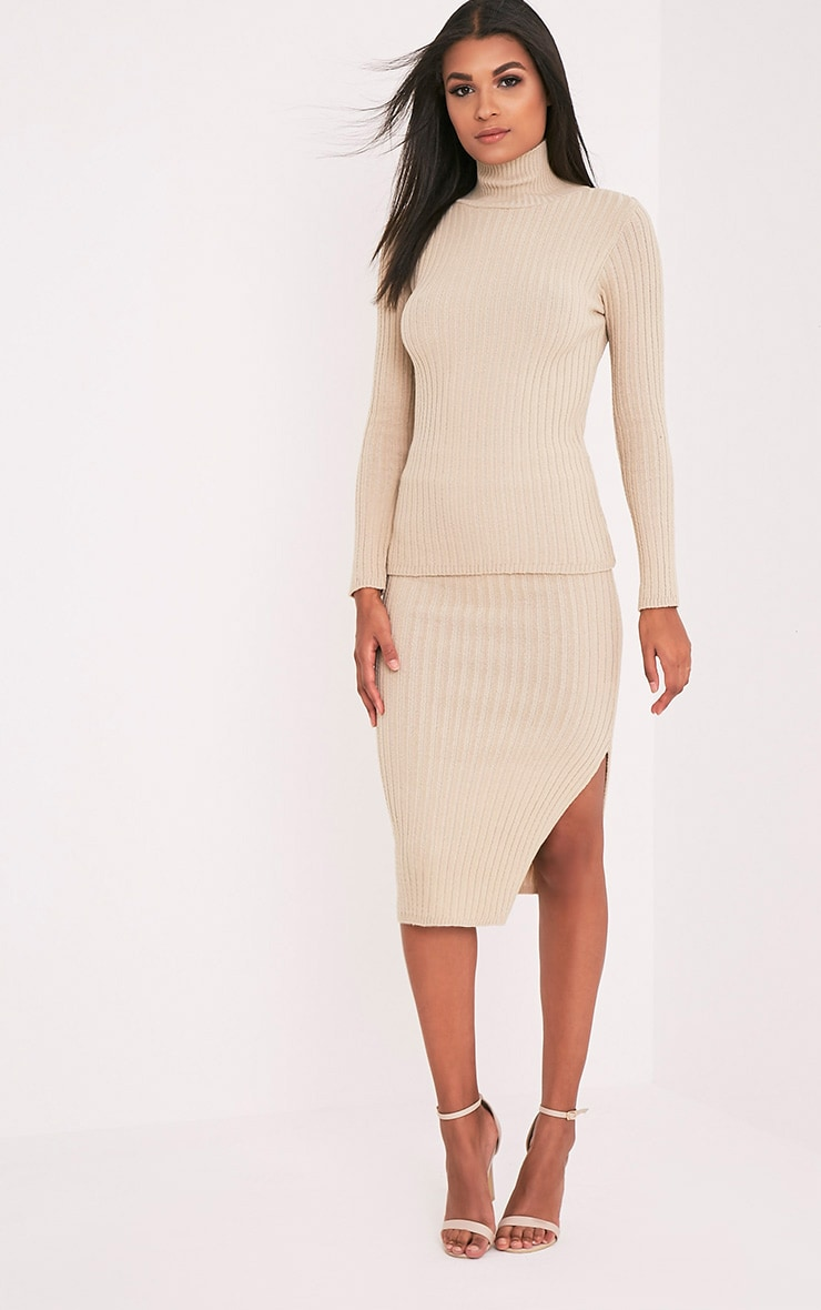 Usmelda Stone Ribbed Knitted Midi Skirt 1
