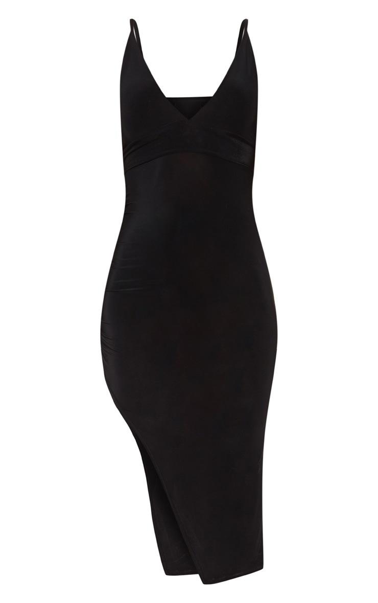 Black Slinky Asymmetric Hem Midi Dress 3