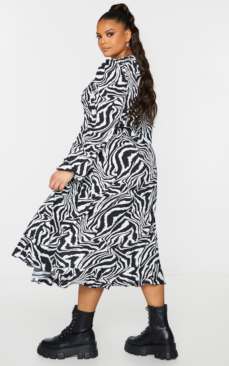 Plus White Zebra Print Ruffle Wrap Front Midi Dress 2