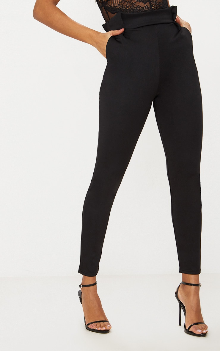 Black Pleated Waistband Tailored Pants 2