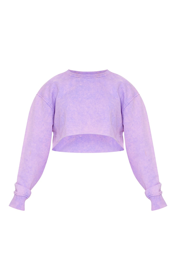 Petite Washed Purple Cropped Sweater 5