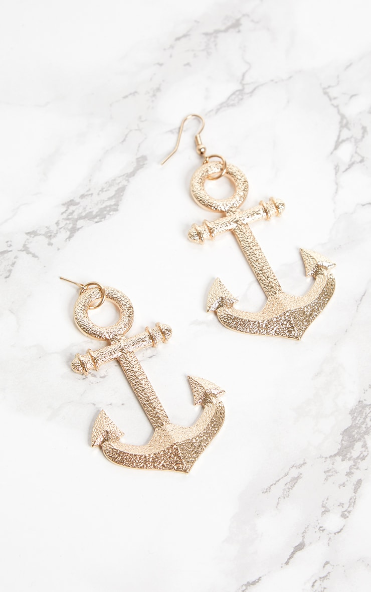 Gold Anchor Nautical Earrings 3
