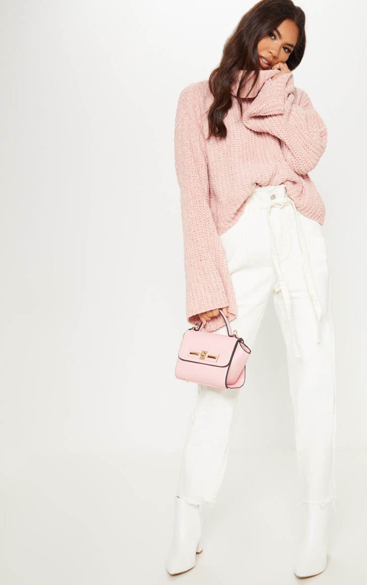 PINK CHENILLE CROPPED HIGH NECK KNITTED JUMPER