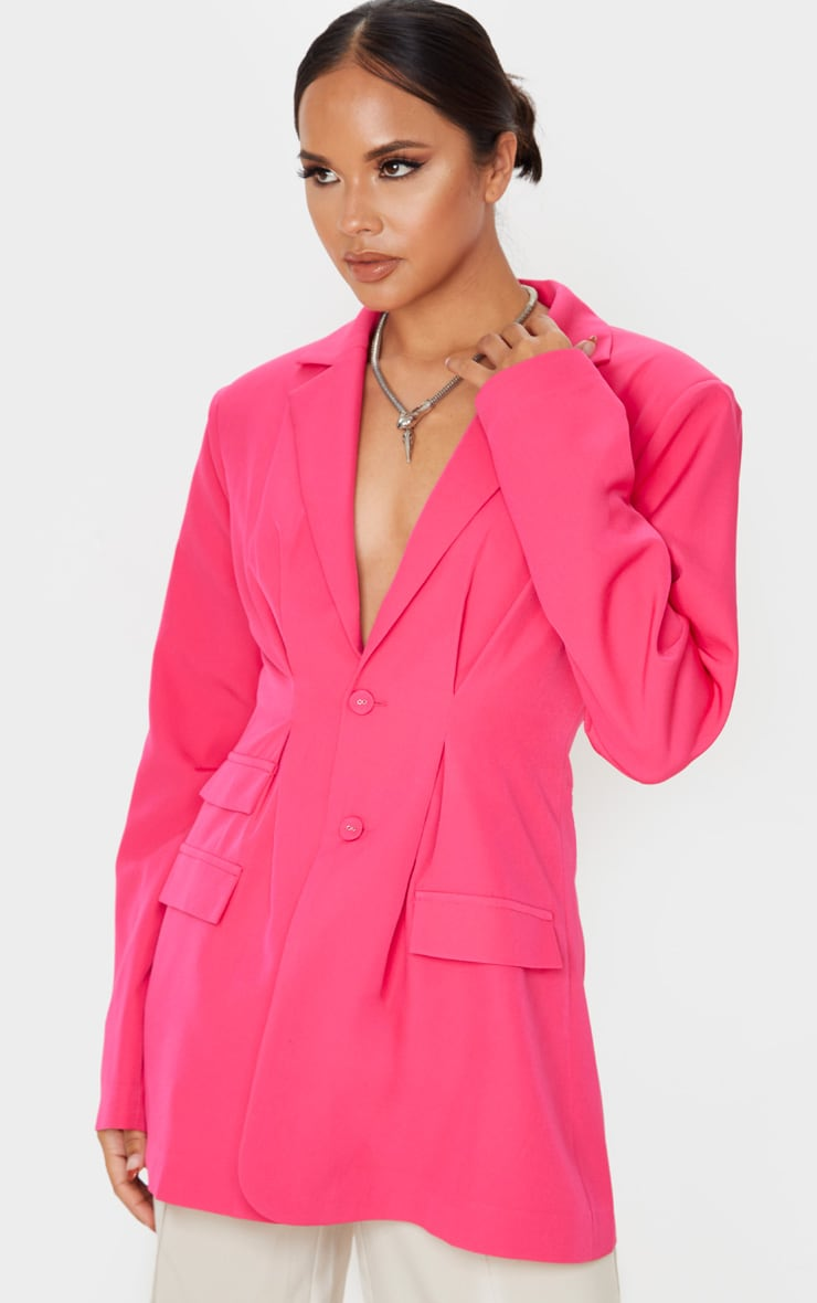 Hot Pink Woven Cinched Waist Shoulder Padded Blazer 1